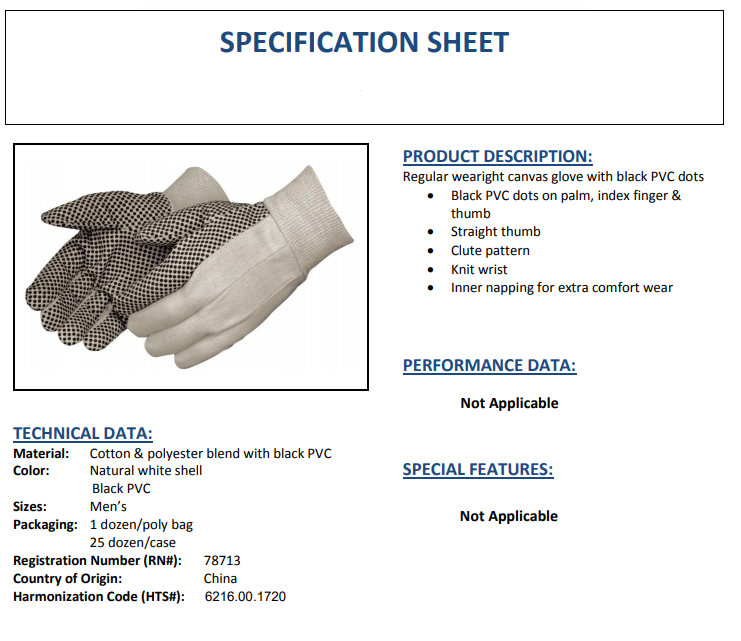 when to use Product Specification Sheet